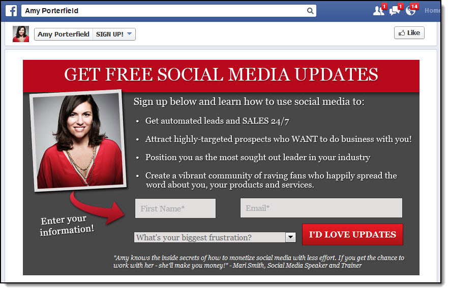 amy porterfield email sign up
