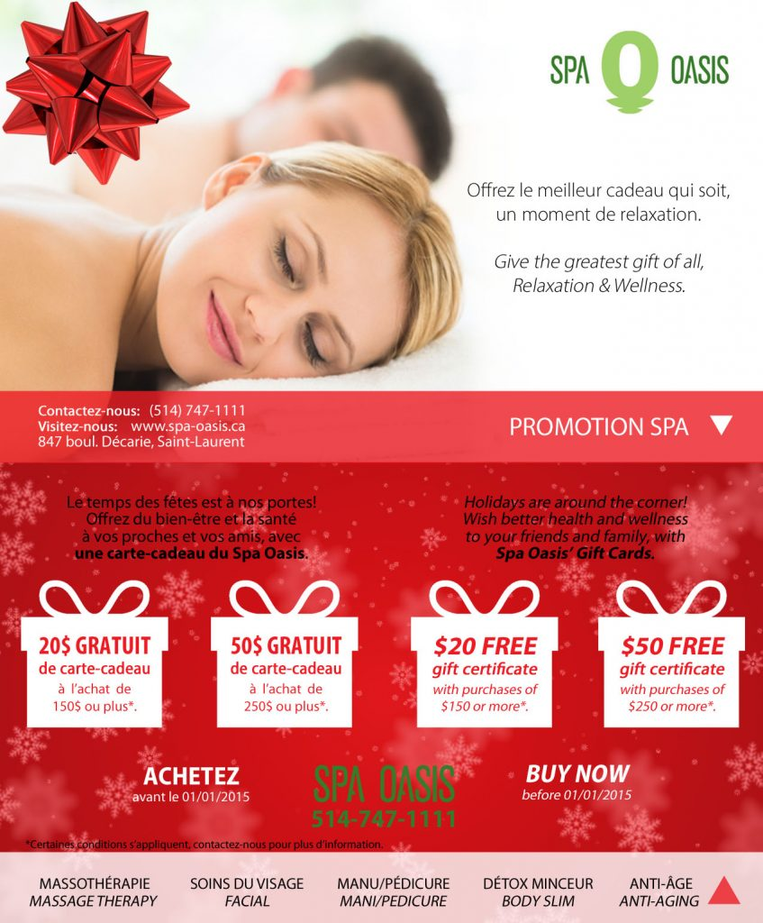 Montreal Spa Oasis Holiday Promotion for Christmas Gift 2014